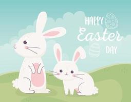 lapins mignons pour la célébration du jour de pâques vecteur