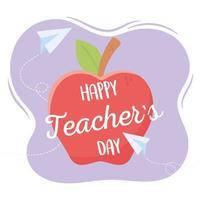 pomme rouge pour la journée des enseignants vecteur