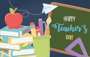 bannière de célébration de la journée des enseignants heureux vecteur