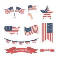 drapeau américain pour le jeu d'icônes de célébration du jour du souvenir vecteur
