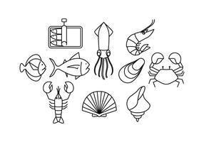 Ligne de fruits de mer vecteur libre Icône