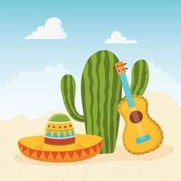 mignon cactus avec sombrero et guitare acoustique vecteur