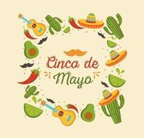 éléments mexicains pour bannière de célébration cinco de mayo