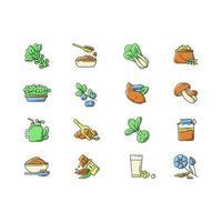 variété de superaliments, jeu d'icônes de couleur rgb
