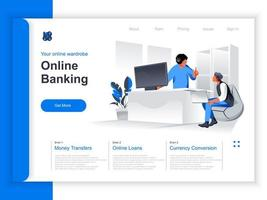 page de destination isométrique des services bancaires en ligne vecteur