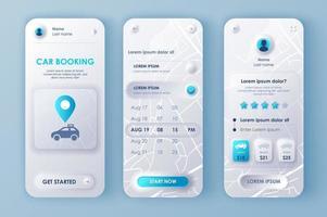 kit de conception néomorphique unique de réservation de voiture