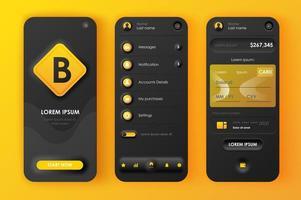 kit de conception néomorphique unique de banque en ligne vecteur