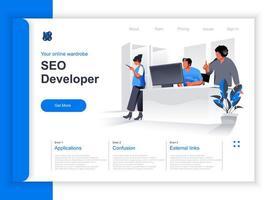 page de destination isométrique du développeur SEO vecteur