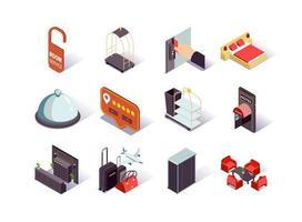 ensemble d & # 39; icônes isométriques infrastructure hôtelière vecteur