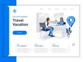 page de destination isométrique de vacances de voyage vecteur