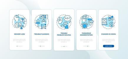 premiers signes de démence, écrans de page d'applications mobiles vecteur