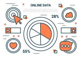 Marketing vecteur icônes en ligne Flat gratuit
