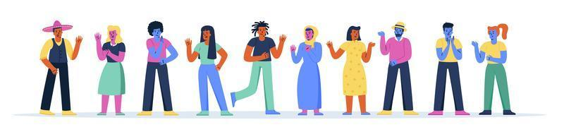 bannière horizontale avec divers hommes et femmes