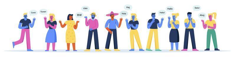 bannière horizontale avec des hommes et des femmes mignons disant bonjour