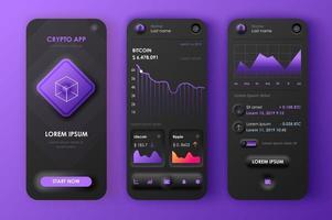 kit de conception néomorphique unique de crypto-monnaie vecteur