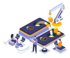 conception isométrique des services bancaires mobiles vecteur