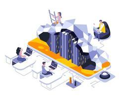 conception isométrique du cloud computing