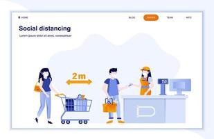 distanciation sociale sur la page de destination plate du magasin vecteur