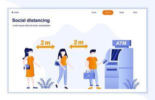 distanciation sociale sur la page de destination plate atm vecteur