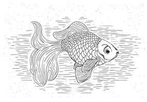 Illustration dessinée vecteur Goldfish main libre