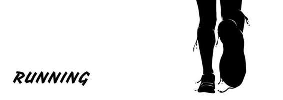 conception de bannière silhouette splash en cours d'exécution vecteur