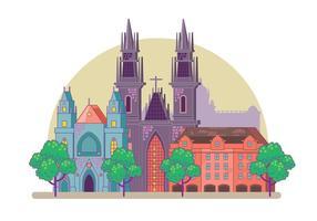 Prague City Skyline vecteur
