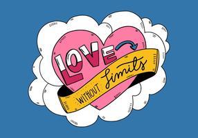 Coeur mignon avec du ruban et Lettrage style de bande dessinée vecteur