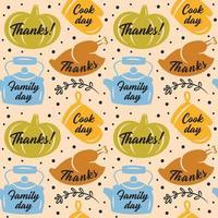 citrouille de Thanksgiving, gant de four, dinde, modèle de bouilloire vecteur