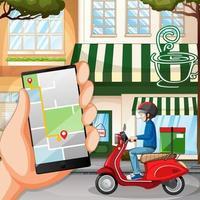 application de livraison sur écran mobile