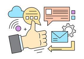 Marketing vecteur libre icônes dans style linéaire