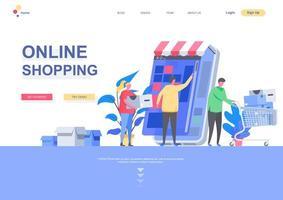 modèle de page de destination plat shopping en ligne vecteur
