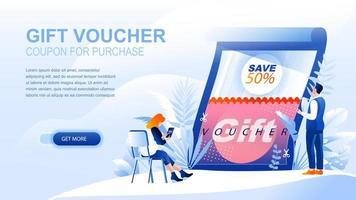 chèque cadeau page de destination plate avec en-tête vecteur