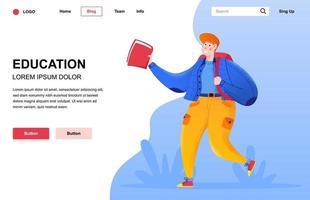 composition de page de destination plate éducation vecteur