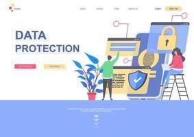 modèle de page de destination sur la protection des données vecteur