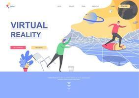 modèle de page de destination plate de réalité virtuelle vecteur