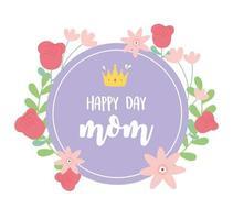 lettrage de la fête des mères et carte de voeux de fleurs