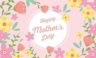 bannière de lettrage et de fleurs fête des mères vecteur