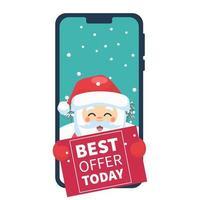 père noël sur téléphone portable avec affiche de vente vecteur