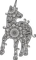 licorne dans le style de dessin au trait mandala