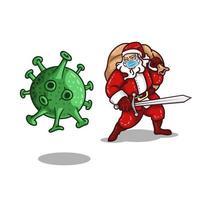 le père noël portant un masque combattant le coronavirus vecteur