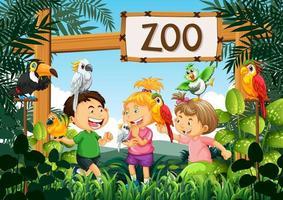 enfants jouant avec des oiseaux perroquets dans la scène du zoo