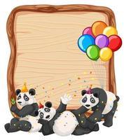 modèle de planche de bois vierge avec des pandas en thème de fête isolé