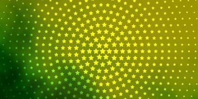 mise en page verte et jaune avec des étoiles brillantes.
