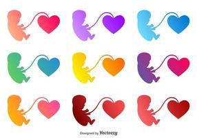 Foetus vecteur avec une icône de coeur