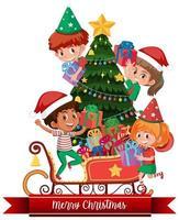 enfants heureux isolés célébrant Noël