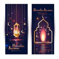 ensemble de bannière islamique ramadan kareem vecteur