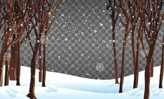 scène de la nature dans le thème de la saison d'hiver avec fond transparent vecteur