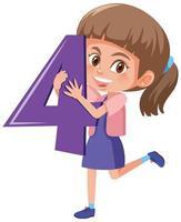 fille étudiante tenant le personnage de dessin animé numéro isolé sur fond blanc