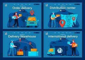 livraison internationale, ensemble de pages de destination plates vecteur