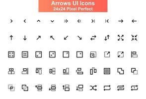flèches, jeu d'icônes d'interface utilisateur, grille 24x24